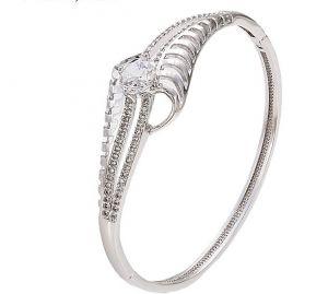 Wish Bangle Bracelet, Clear CZ