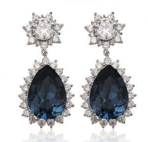 Blue Drop Earrings, Clear CZ