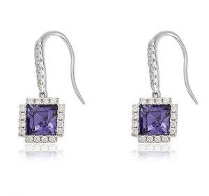 Purple Modern Earrings. Clear CZ