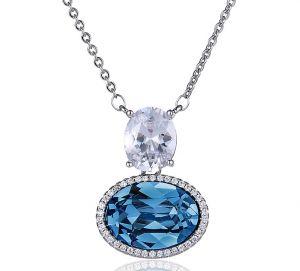 Blue Ocean Necklace, Clear CZ