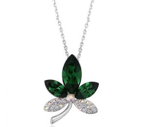 Caring Leaves Necklace, Clear CZ
