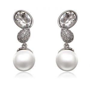 Dazzling Pearl Earrings, Clear CZ