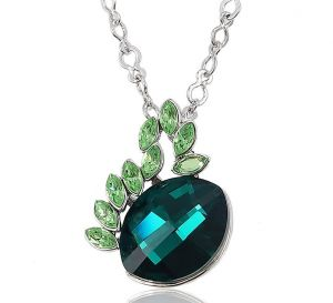 Dream Flower Green Necklace, Clear CZ