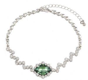 Dream Green Bracelet, Clear CZ