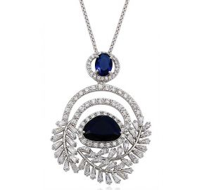 Enchanted Leaves Necklace, Clear CZ