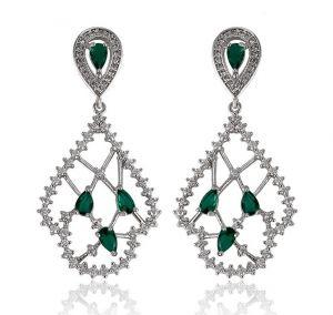 Fantastic Green Earrings, Clear CZ