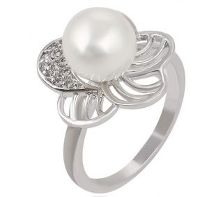 Flower and Pearl, Clear CZ