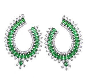 Green Perfect Earrings, Clear CZ