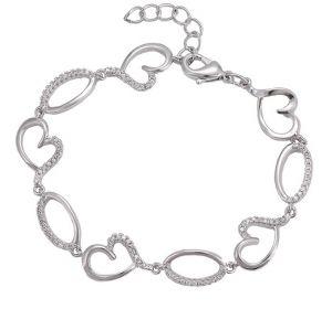 Heart Delicate Bracelet, Clear CZ