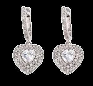 Infinite Heart Earrings, Clear CZ