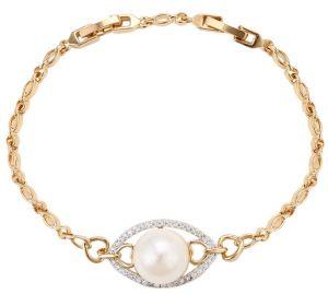 Royal Pearl Bracelet, Clear CZ