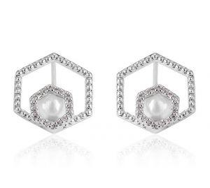 Six Sides Pearl, Clear CZ