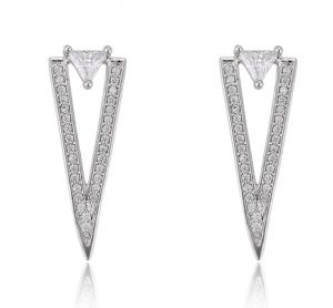 Triangle of Athens Earrings, Clear CZ