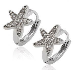 White Star Earrings, Clear CZ- Kids Size