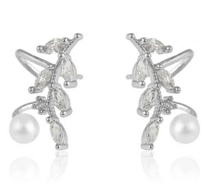 Wish Abstract Earrings, Clear CZ