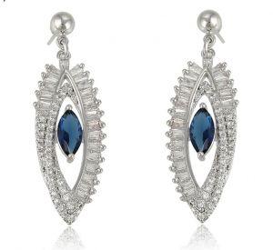 Wish Blue Earrings, Clear CZ